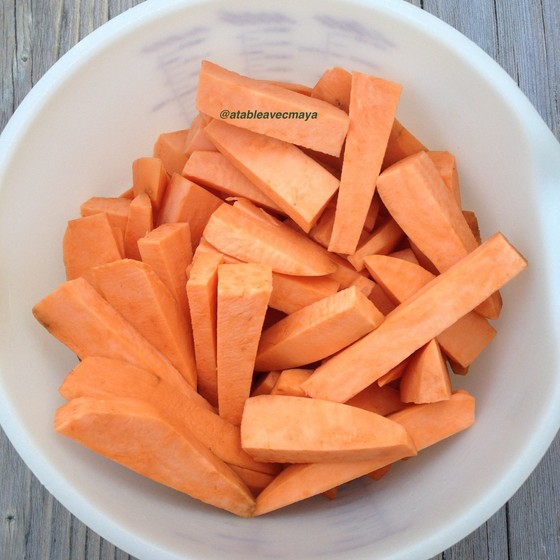 2. patates douces découpées