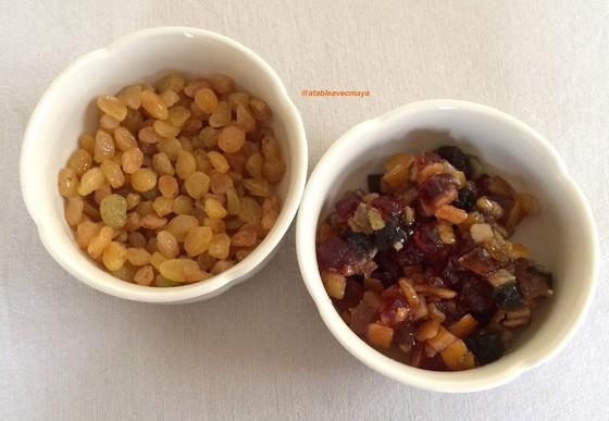 2. fruits confits et raisins