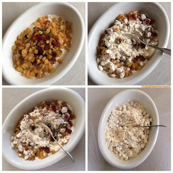 4. melange fruits et farine
