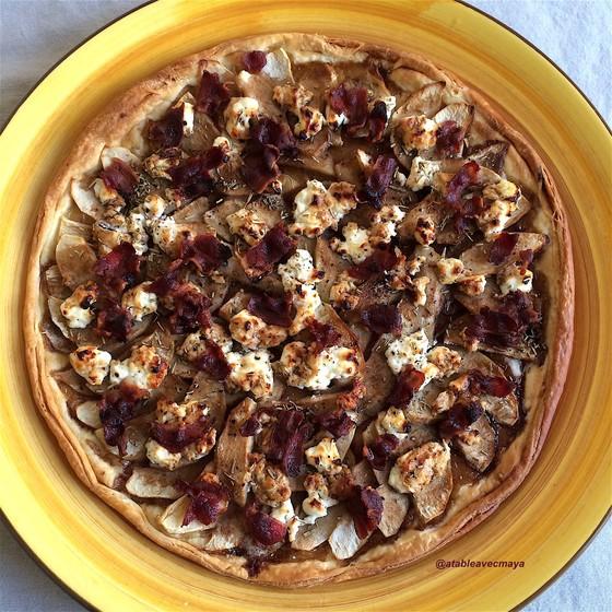 7 - croute pomme bacon chevre tarte entière cuite