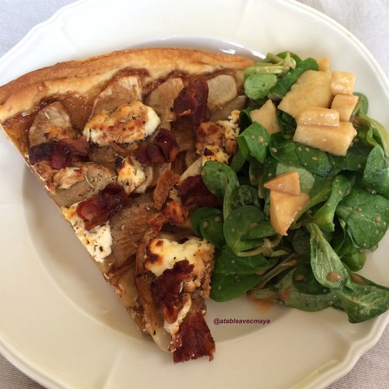 8 - croute pomme bacon chevre - assiette salade