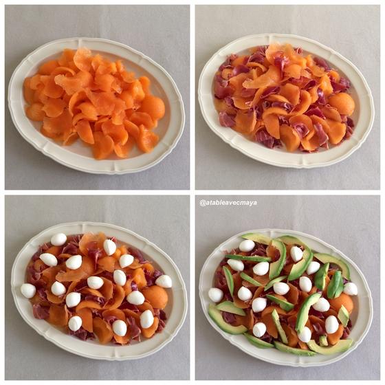 2. Melon jambon coloré - assemblage