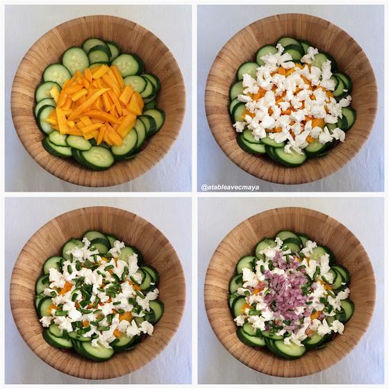 3 - Salade magret mangue chevre - montage suite