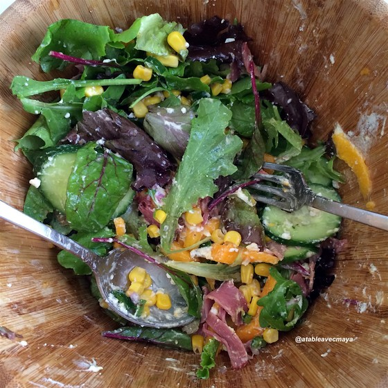 6 - Salade magret mangue chevre - salade mélangée