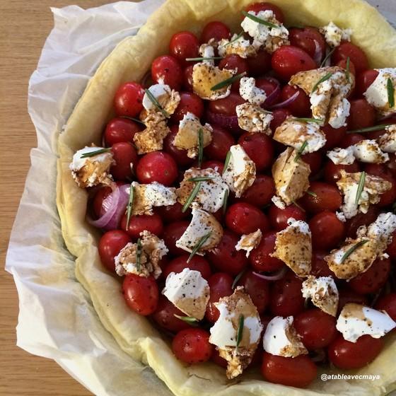 Tarte salee tomates cerise & chevre frais