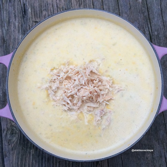 Soupe repas de maïs au poulet